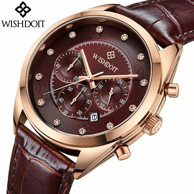 2018 Top Brand New Fashion Leather Strap Multifunction Watches Men Quartz Watch Waterproof Wristwatches Clock Relogio Masculino