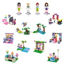 Legoing City Friends série bricolage scènes nouveaux ensembles vente rose lit piano table Tom Olivia Mia vaisseau spatial scène Figures blocs Legoings(China)