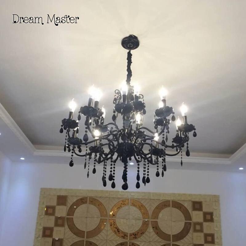 Black Crystal Chandelier European Style Living Room Lamp