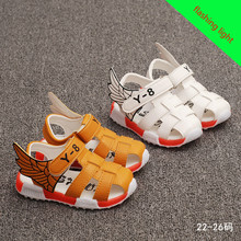New Style 2016 Boys Antislip Sole Sandals Summer Cut-out Comfortable Flats Leather Sandals Kids Children Breathable Shoes