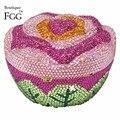 Mulheres roxo Flor de Cristal Da Noite Saco de Embreagem Sacos de Noiva Do Casamento de Rosa do Metal Saco de Embreagens Bolsas de Ombro Bolsa Miniaudiere