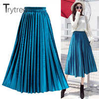 Trytree Summer Autumn Pleated Skirt Womens Vintage High Waist Skirt Velvet Corduroy Long Skirts Fashion Metallic Skirt Female
