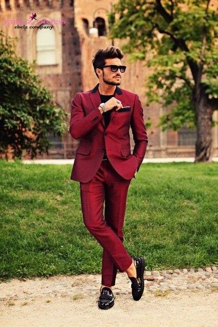 Fashion Mens Wear Red Suit Men s Brand Suits Burgundy Wedding Tuxedo for Men  Summer Casual Man Blazer Custm 2016 Spring Hot Sale e2c7a99200a6