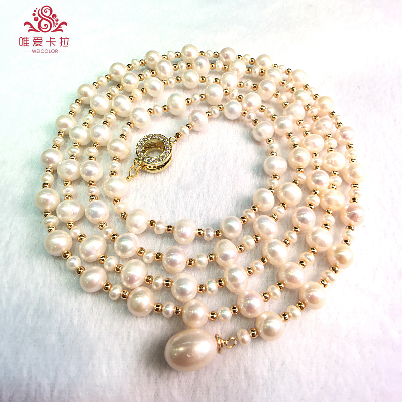 WEICOLOR 130cm Rope, 8-9mm White Natural Freshwater Pearl ,Gold Mixed  beads. Nice Clasp,Different Wearing Styles.WEICOLOR 130cm Rope, 8-9mm White Natural Freshwater Pearl ,Gold Mixed  beads. Nice Clasp,Different Wearing Styles.