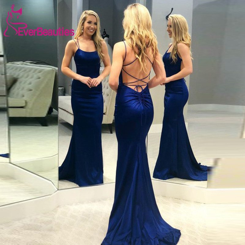 Abiye Gece Elbisesi Women Elegant Mermaid Evening Dress Long 2019 Spaghetti Straps Abendkleider Formal Dress Robe De Soiree in Evening Dresses from Weddings Events