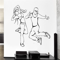 Sexy Girl Cool Boy Wall Decal Dance Street Dancing Urban Art For Living Room Vinyl Wall Stickers Home Decor Dance Studio