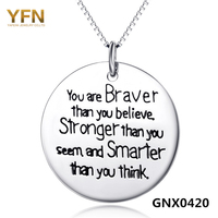 GNX0420 Genuine 925 Sterling Silver Jewelry Engraved Inspiring Message Necklace Be What You Wanna Be Fashion Jewelry For Women