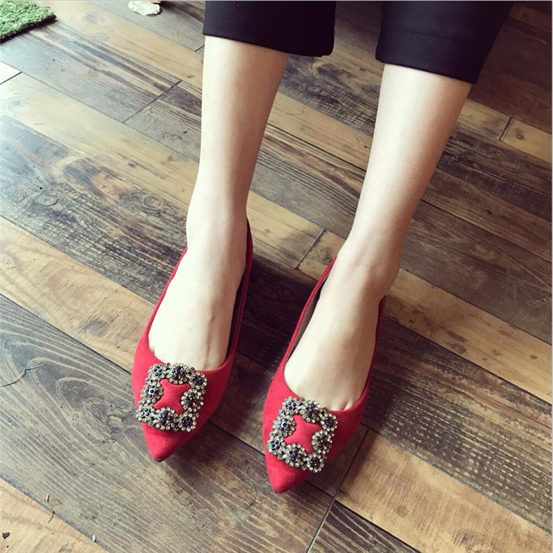 Women Ballerina Flats Pointed Toe Flock Casual Shoes Comfort Lady Single Shoes Rhinestone Ballet Flat Shoes Moccasines XK041008 2017 womens spring shoes casual flock pointed toe narrow band string bead ballet flats flat shoes cover heel women flats shoes