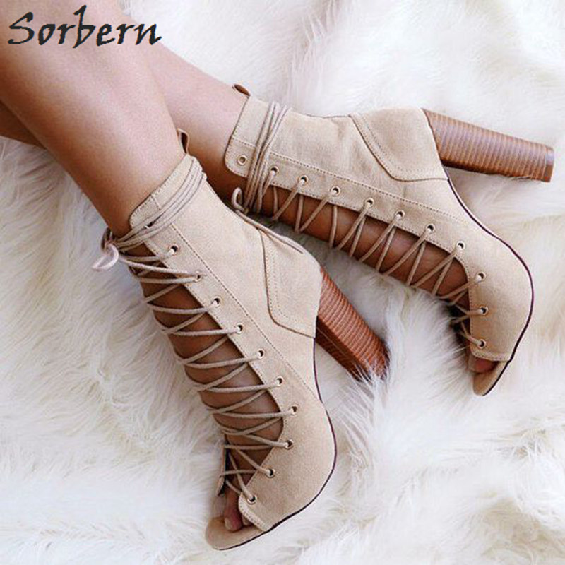 Sorbern New Lace-Up Open Toe Women Booties Ankle Boots High Heels Size 14 Heels Shoes 2018 Trendy Shoes Cowgirl Boots For Women new 2015 cowgirl