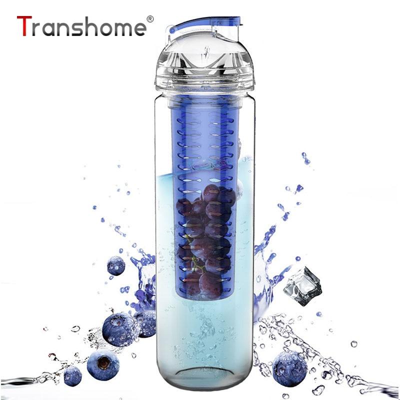 Transhome fruta jugo de limón botella de agua 700 ml Infusor de fruta botella de jugo de limón botella de agua salud BPA libre Detox Flip Lid Tour