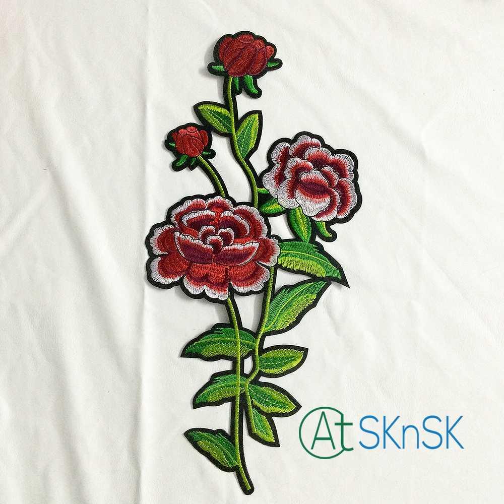 2 pcs/lot Merah warna Peony Flower Bordir besi pada Motif menjahit pada gaun Malam Kerah Bunga pola hotfix patch A1