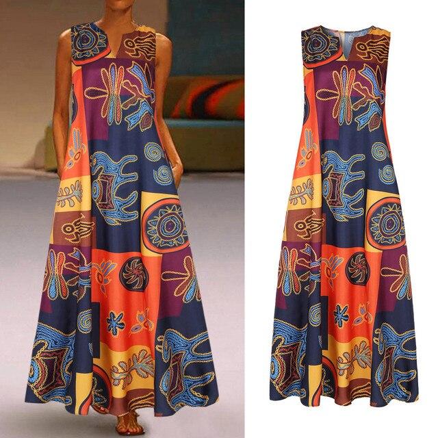 Women Summer Dress Plus Size Print Daily Casual Sleeveless Vintage Bohemian V Neck Maxi Dress Female Fashion Vestidos M40# 4