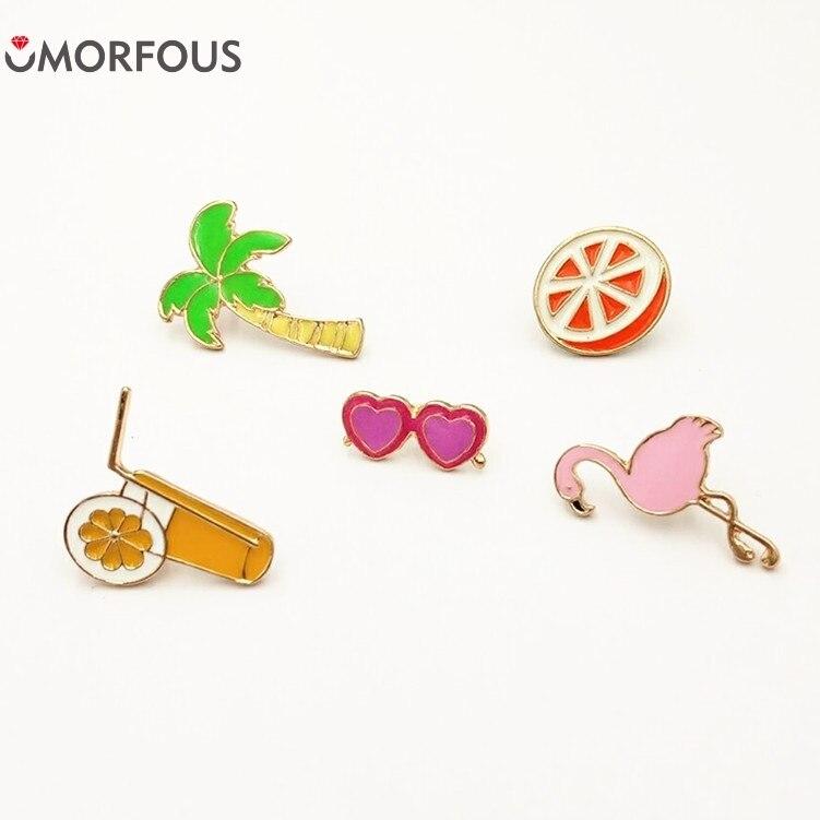 10PCS/Lot Summer cool set fruit orange juice coconut tree cranes orange glasses women drop drops brooches Wholesale
