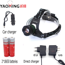 High power led headlamp CREE XM- T6 2000Lm 3 modes zoomable rechargeable bike headlight+2*18650 batteries+charger fishing torch