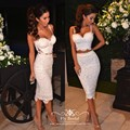 Sleevelss Spaghetti Straps Two Pieces Prom Homecoming Dresses Knee Length Sweetheart Sexy White Lace Cocktail Dress