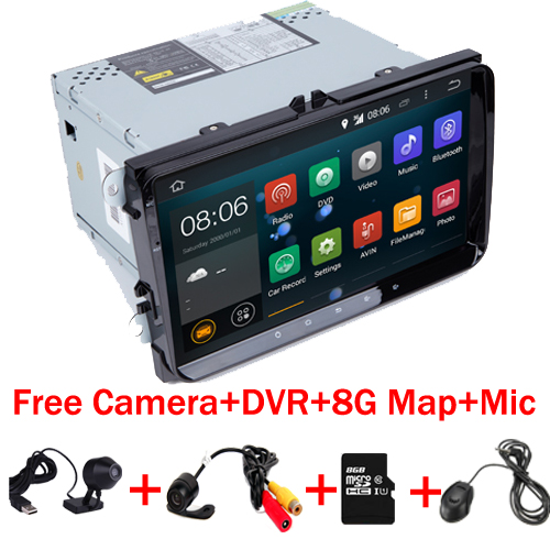 2 din 9 DVD de voiture Android 7.1 pour VW Volksvagen Passat B5 Golf Siège Leon Bora Polo Siège Avec Wifi 4G caméra Libre DVR + 8 GB CARTE