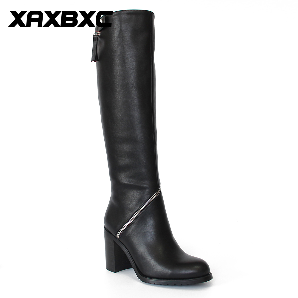 XAXBXC Retro British Style Pu Lær High Heel Long Boots Kvinner Støvler Glidelås Surround Pointed Toe Håndlaget Casual Lady Shoes