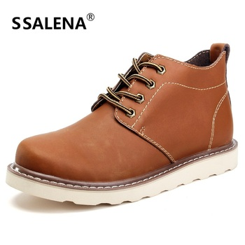 Men Leather Ankle Boots Autumn Winter Short Boots Male Fashion Footwear Lace Up Shoes Men High Quality Vintage Shoes AA10258
