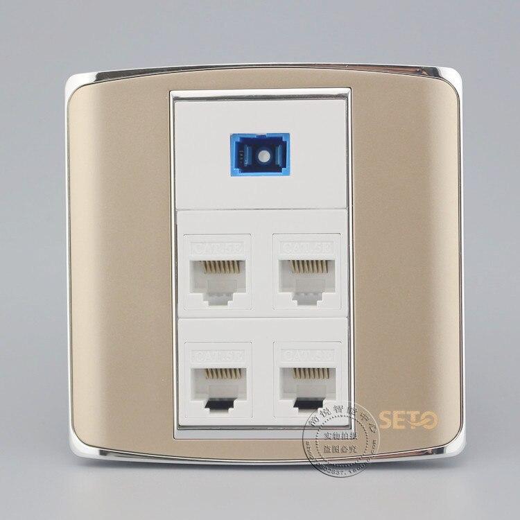 SC Opitcal волокна разъем и четыре Порты Cat5e RJ45 сети Lan шампанское Цвет лицевую панель розетки