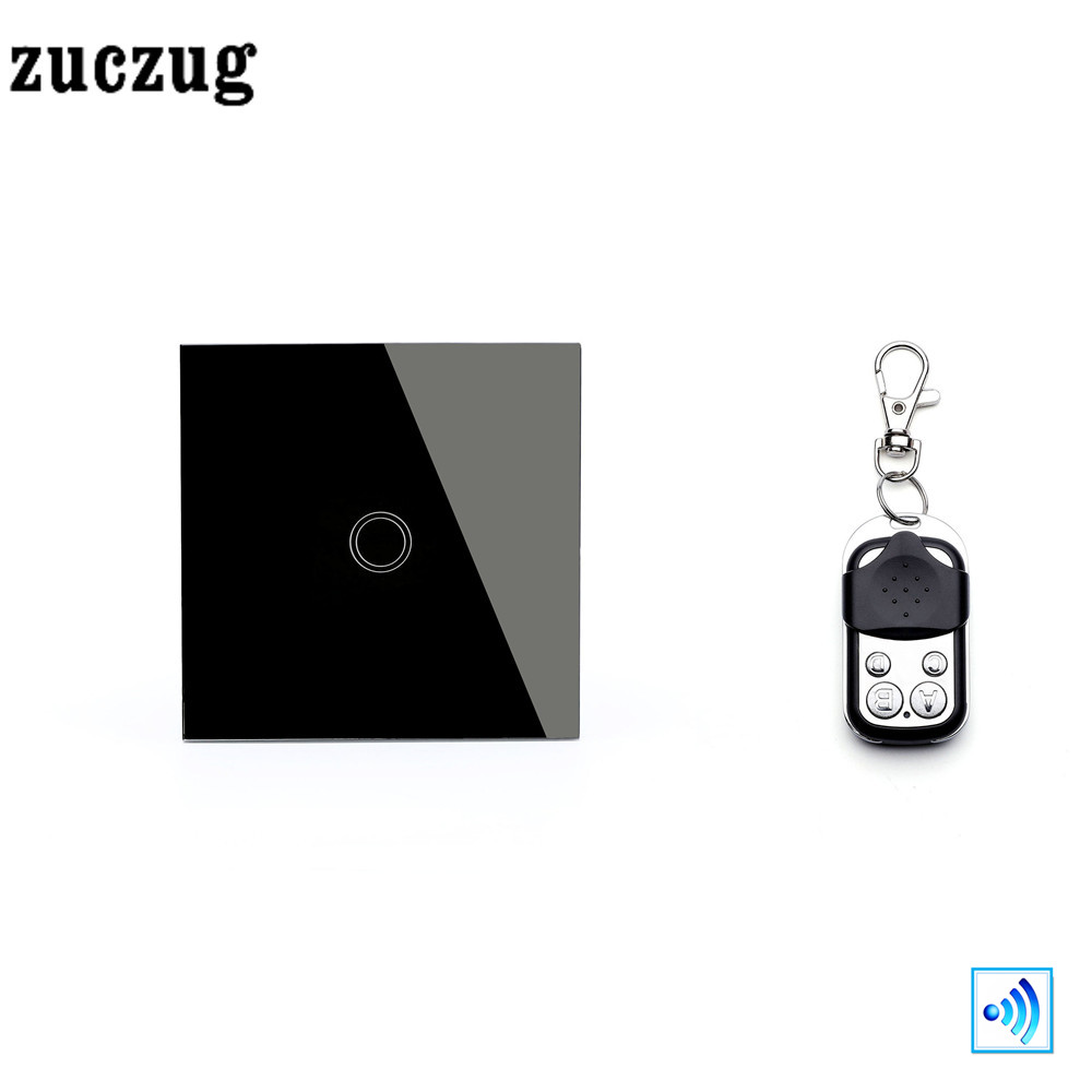 Zuczug EU/UK Luxury smart home 1 Gang 1 Way remote control light switch  White Crystal Glass Touch Switch with Mini remote. smart home us black 1 gang touch switch screen wireless remote control wall light touch switch control with crystal glass panel