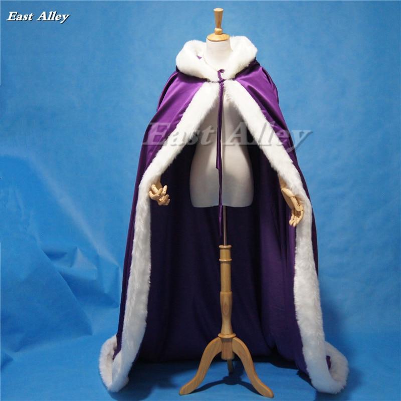 High Quality Purple Bridal Cloak Winter Hooded Faux Fur Trim Satin Wedding Cape Shawl Cape Mantles