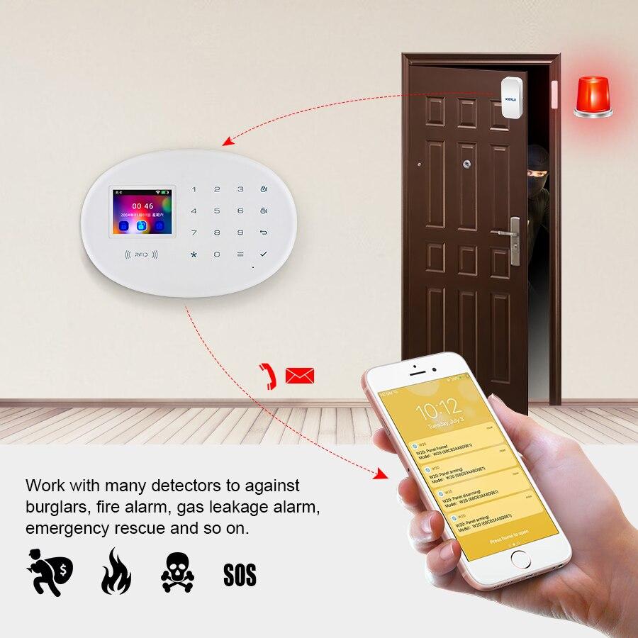 KERUI WIFI GSM système d'alarme de sécurité à domicile avec 2.4 pouces TFT écran tactile APP contrôle RFID carte sans fil intelligent maison alarme antivol - 5