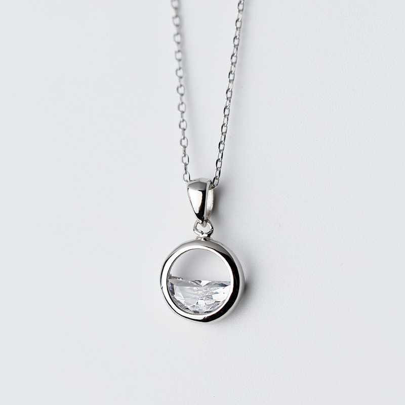 MloveAcc 925 Sterling Silver Simple Round Pendant Zircon Pendant Necklaces for Women Girls Fashion Choker Necklace stylish sunflower round pendant necklace for women