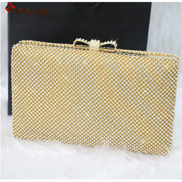 New Women's Banquet Clutch Luxury Sided Full Diamond Evening Bag Rhinestone Bowknot Wedding Party Handbag Chain Shoulder Bag