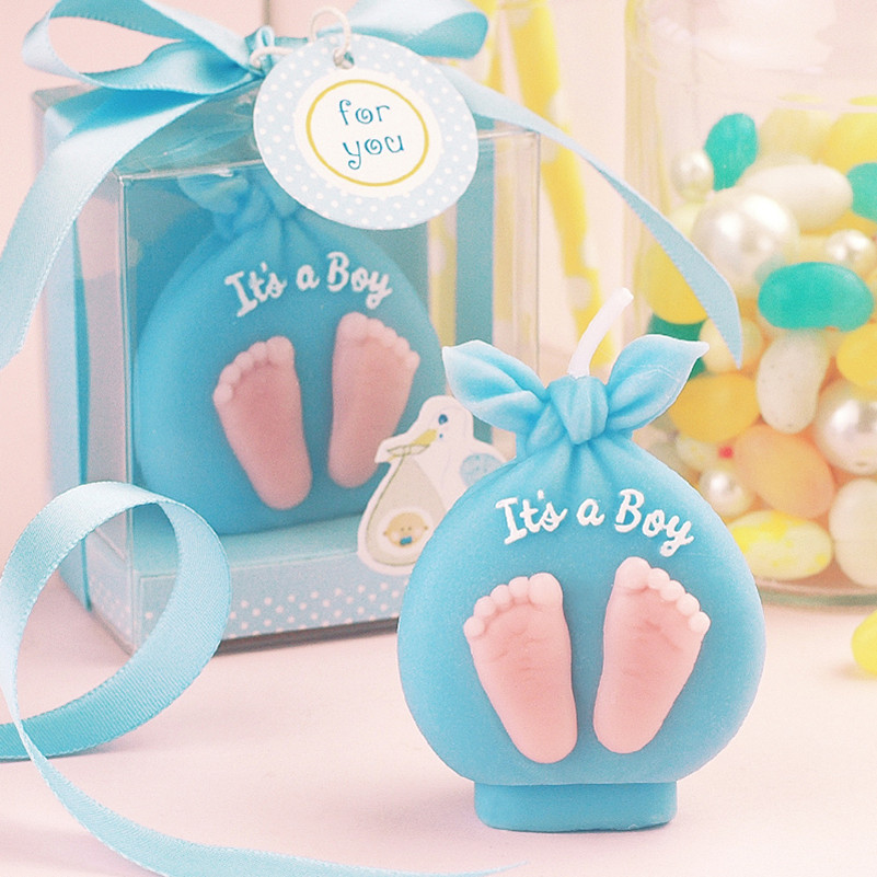 Children Party Birthday Candle Cake Topper Baby Footprint Scented Candles Babyshower Birthday Party Cake Decorating Supplies