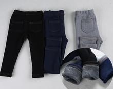 Nouvelle Mode Imitation Jeans Garçons D'hiver Pantalon Droit Élastique Épais Printemps Hiver Long Pantalon Pour Garçons Filles 1-4A KJ-1592