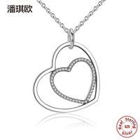 Hot Sell Retro 100 925 Sterling Silver Heart To Hang Pendant Necklace Swarovski Crystal Necklace For
