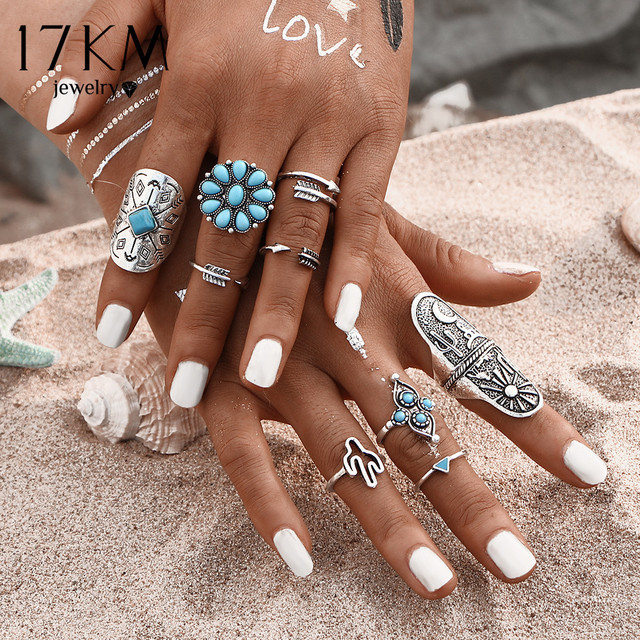 17KM 9Pcs/ Fashion Blue Stone Bohemian Ring Set Vintage Steampunk Cross flower A