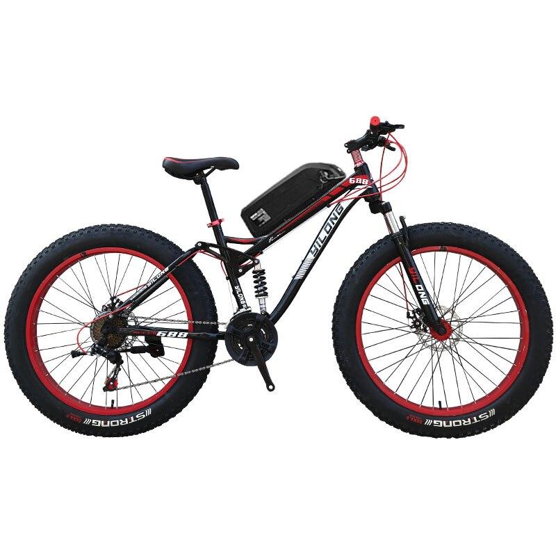 26 pouces Full suspension montagne E-vélo graisse Vélo Électrique Puissant vélo Électrique VTT 48V1500W Ebike 27 vitesse off- route 4.0 gros pneus