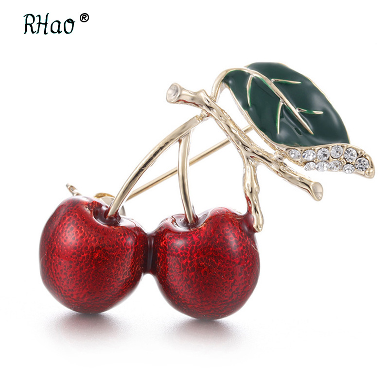 RHao Vivid Red Enamel Cherry Brooches pins for women girls clothes dress buckles corsage men suit clips jewelry accessories gift