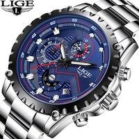 Бренд lige мужские модные часы мужские спортивные водонепроницаемые кварцевые часы мужские полностью стальные военные часы наручные часы