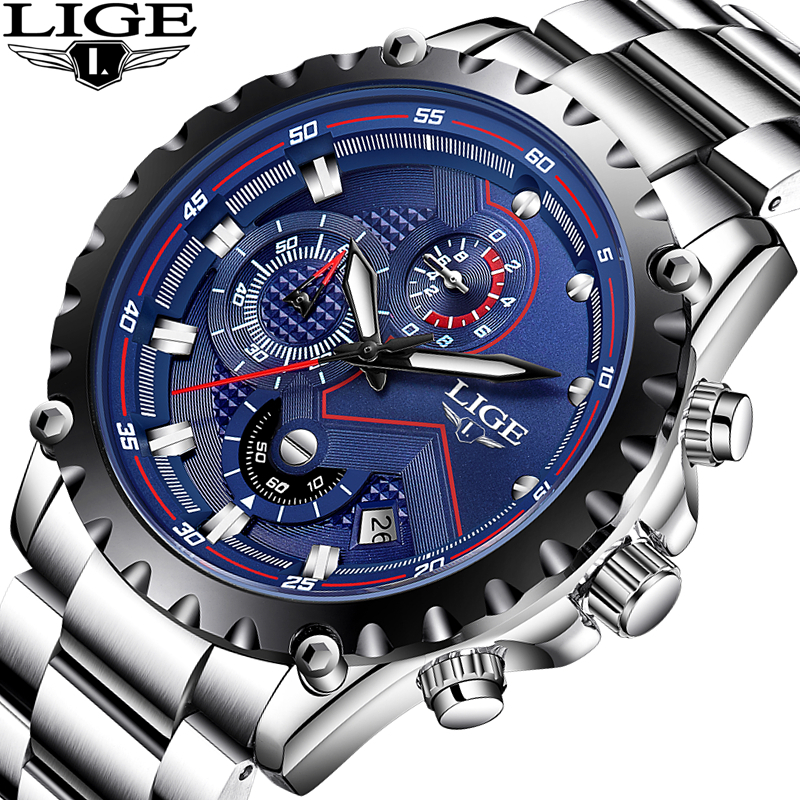 LIGE Brand Men's Fashion Watches Men Sport Waterproof Quartz Watch Man Full Steel Military Clock Wrist watches Relogio Masculino lige brand men s fashion automatic mechanical watches men full steel waterproof sport watch black clock relogio masculino 2017