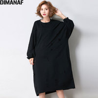 DIMANAF 2017 Women Dress Autumn Style High Street Plus Size Cotton Dress Solid Hole Female Casual