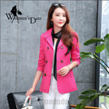 WomensDate 2016 New Fashion Autumn Women Slim Short Paragraph Long-sleeved Double-breasted Women's Trench Coat Shocking Pink