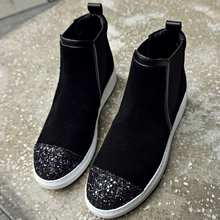 Women's Genuine Leather Slip-on Ankle Boots Brand Designer Patchwork Sequin Short Booties Winter Flats Shoes for Women Calzados