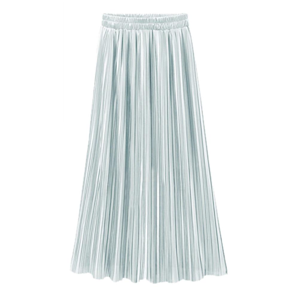 Skirts Womens Chiffon 2020  Women Vintage Casual High Waist Long Solid Fashion Daily Pleated Skirt Sijonas Saia #N45