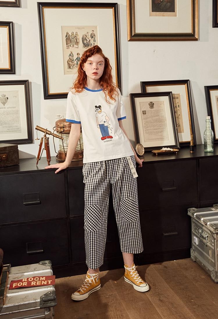 Fashion Design Plaid 2018 Elastic Waist Women Straight Pants Capris Cartoon Print Belt Calf Length Pants Summer Preppy Style 10