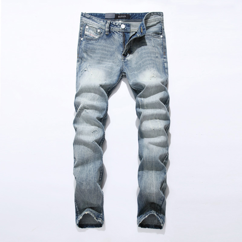 2018 New Winter Fashion Mens Jeans High Quality Light Blue Straight Jeans For Men Casual Denim Pants Classical Ripped Jeans Men