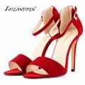 LOSLANDIFEN Sexy Pumps For Women High Heels Open Toe Flock Thin Heels Bridal Party Shoes Pumps US SIZE 4-11  10 color  102-2VE