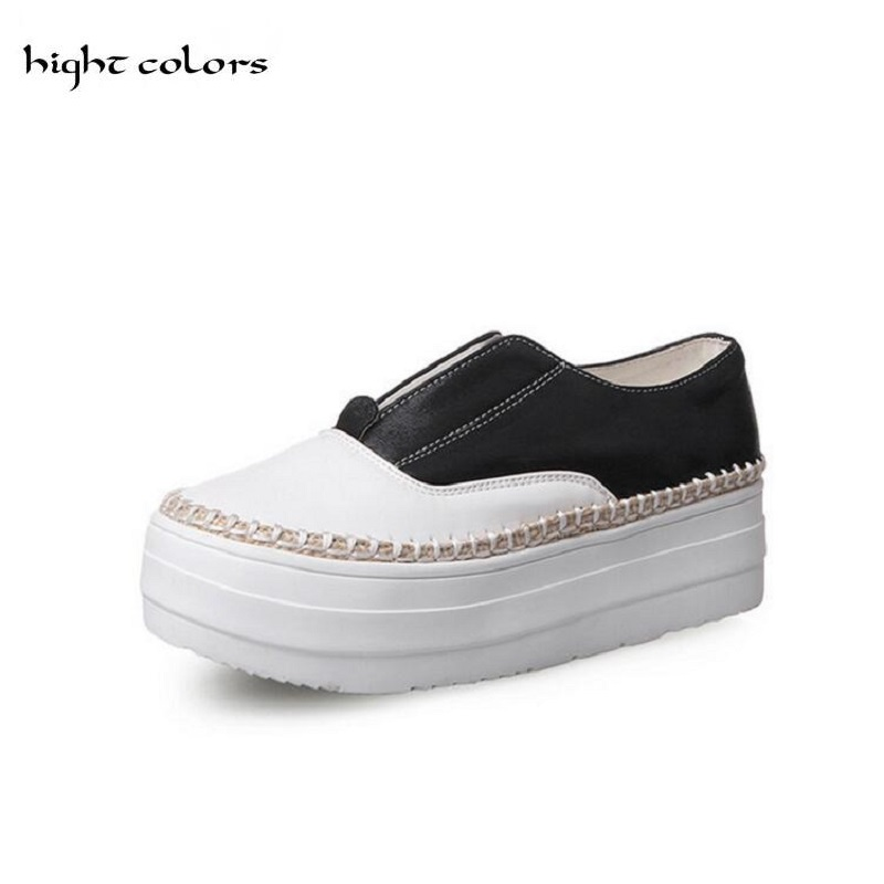 31~43 Women Flat Platform Loafers Shoes 2017 Brand Women Leather Casual Platform Shoes For Ladies New Fashion Flats Shoes Women 34 43 big small size new 2016 summer fashion casual shoes moccasins bottom shoe platform flat for women s loafers ladies
