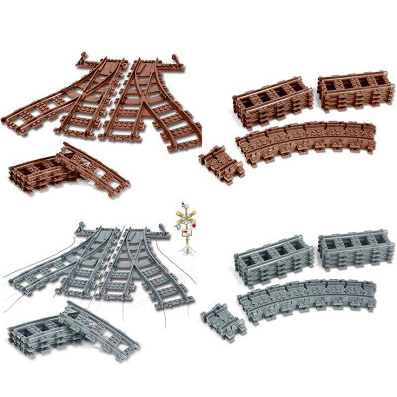 Legoing trenes técnica Flexible carril recto curva rieles conjunto de bloques de construcción para niños ladrillos niños