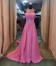 Y-282 Classical Strapless Stones Ruffle Hot Pink Crystals Formal Long Prom Dresses