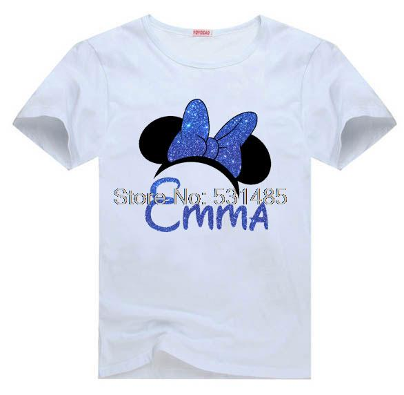 T Shirt Mouse Ears With Glitter Bow Birthday Girl Custom Party Shirts For Kids Children Boy Cartoon