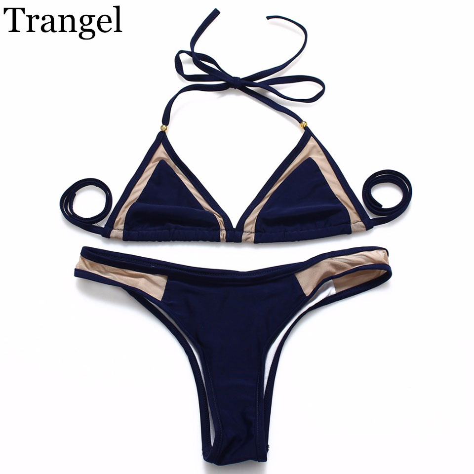 Trangel Strappy Push Up Mesh Bikini Brazilian Swimsuits Swimwear Women 2016 Sexy Bathing Suit Halter Strapless Biquinis Monokini qskk halter bustier yellow bikini strappy cut out women swimwear striped swimsuits beach bathing suit