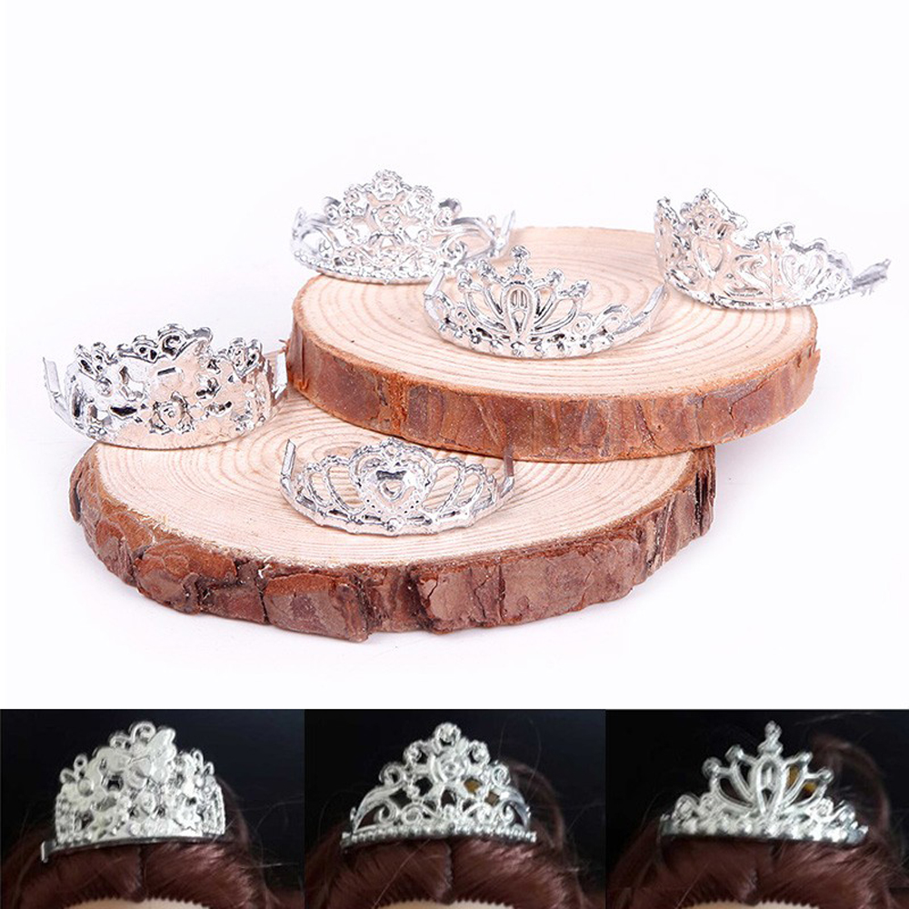 10pcs /set Ladies Crystal Plastic Sliver Crown Headband Headwear Equipment for Barbie Doll Toys #68458