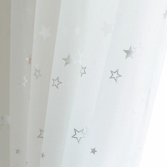 Luce Nastro Lucido Star Bianco Puro Tulle Tende Della Finestra Per Soggiorno cam